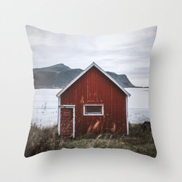 Red Cabin Throw Pillow