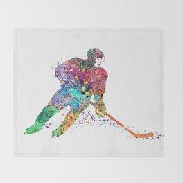 Girl Ice Hockey Sports Art Print Throw Blanket