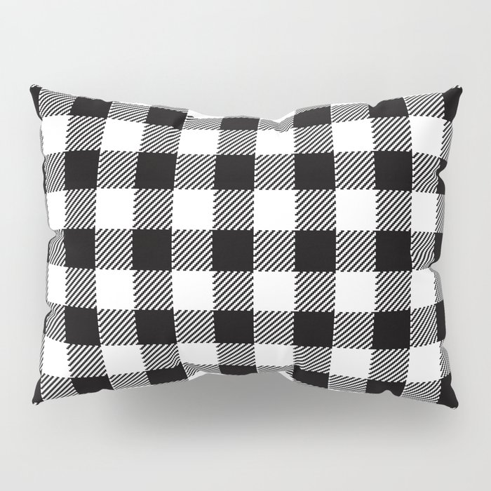 90's Buffalo Check Plaid in Black and White Pillow Sham