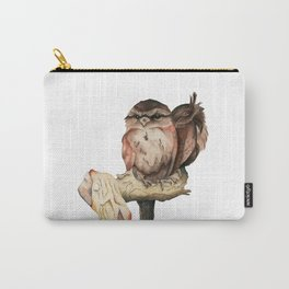 Owl Siblings Watercolor Painting Carry-All Pouch
