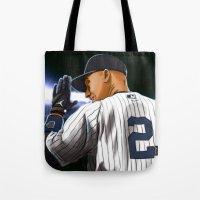 yankees Tote Bags featuring Jeter by Ryan Ketley