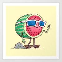 Watermelon Skater Art Print