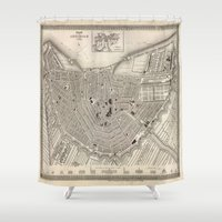 amsterdam Shower Curtains featuring Amsterdam by Le petit Archiviste