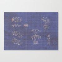 transformer Canvas Prints featuring Transformer Blueprints by William McDonald