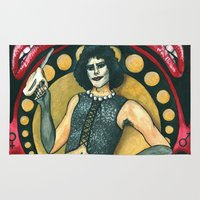 rocky horror Area & Throw Rugs featuring Frank-N-Furter - Rocky Horror Picture Show by DanaRobinson