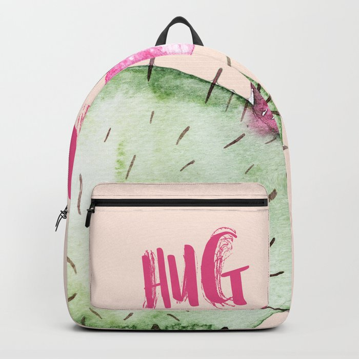 Hug me- Cactus and typography and watercolor Backpack