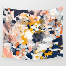 Stella - Abstract painting in modern fresh colors navy, orange, pink, cream, white, and gold Wall Tapestry