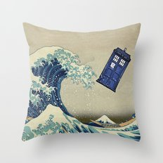 The Great Wave Doctor Who Throw Pillow