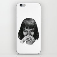 mia wallace iPhone & iPod Skins featuring Mia Wallace by Rebecca Hådell