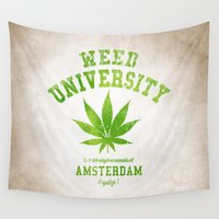 weed Wall Tapestries featuring Weed University by Nxolab