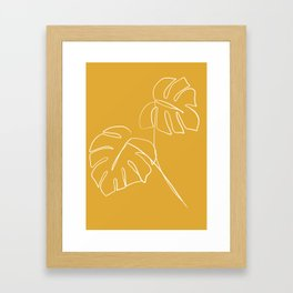 Monstera minimal - yellow Framed Art Print