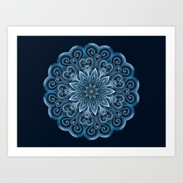 Blue Water Mandala Swirl Art Print