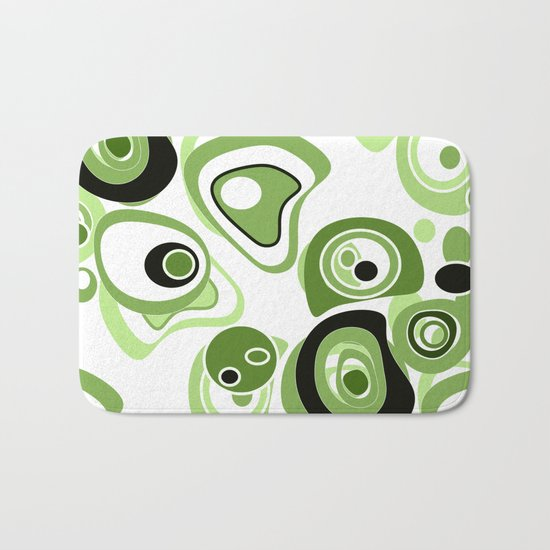 Abstract pattern . Black and green circles and rings on a white background . Bath Mat