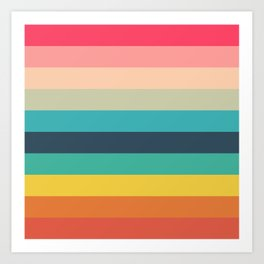 Colorful Timeless Stripes Totetsu Art Print
