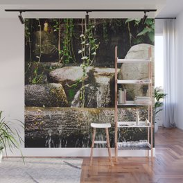 dreamy water flowing over old Asian stones Wall Mural