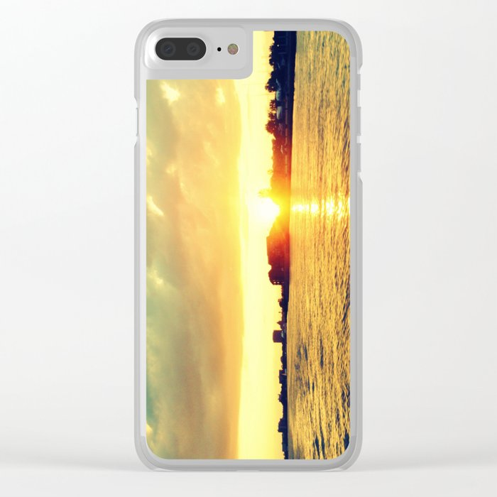 Sunset watEr :Houses Off the River Clear iPhone Case