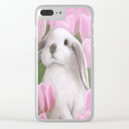 Bunny and Tulips Clear iPhone Case