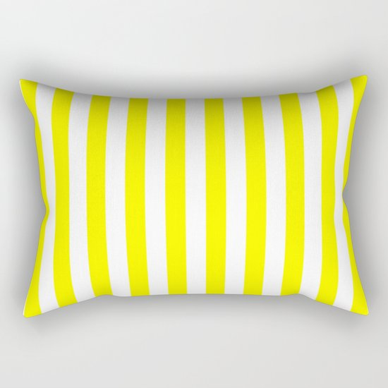 Vertical Stripes (Yellow/White) Rectangular Pillow