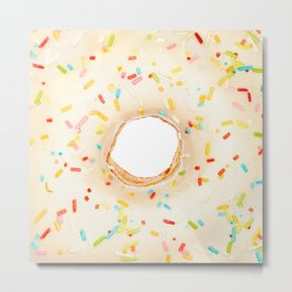 Overfill white chocolate doughnut Metal Print