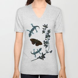 Butterfly With Geckos Unisex V-Neck