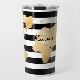Gold world map black and white stripes Travel Mug