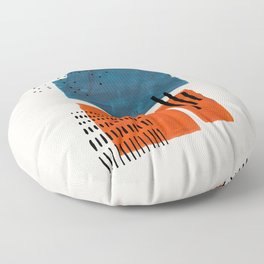 Burnt Orange Jewel Teal Blue Mid Century Modern Funky Colorful Shapes Patterns by Ejaaz Haniff Floor Pillow