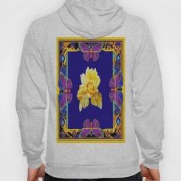 Cobalt Blue-Yellow Rose &  Purple Butterfies Decoative Gold  Pattern Hoody
