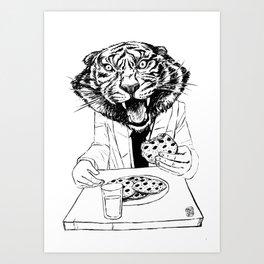 tiger eating cookie Art Print