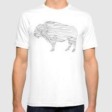 Geometric Bison Print X-LARGE Mens Fitted Tee White