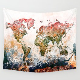 world map colors splats Wall Tapestry