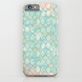 Luxury Aqua and Pink and Gold oriental pattern iPhone Case