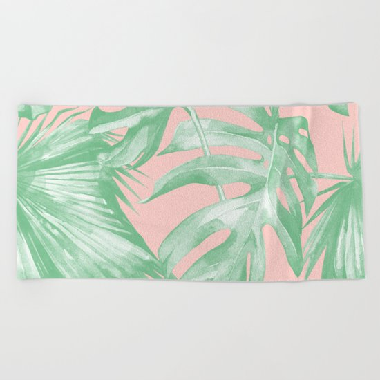 Island Love Seashell Pink Coral + Green Beach Towel
