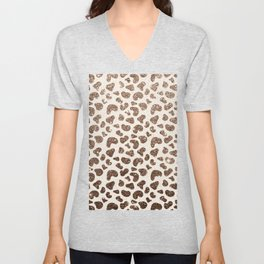 Chic ivory brown glitter gradient animal print pattern Unisex V-Neck
