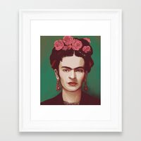 frida khalo Framed Art Prints featuring Frida by ravynka