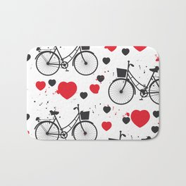 seamless pattern black bike and red heart on white background. Vector illustration Bath Mat