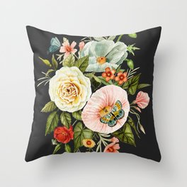 Wildflower and Butterflies Bouquet on Charcoal Black Throw Pillow