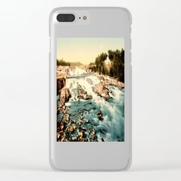Vintage Rocky Waterfall. Creek Landscape Photo Clear iPhone Case
