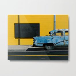 Rusty Blue Car and Yellow Wall Metal Print