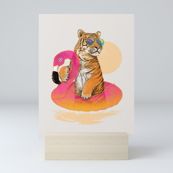 Chillin (Flamingo Tiger) Mini Art Print