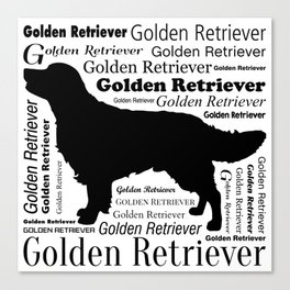 Golden Retriever Silhouette with Typography Canvas Print