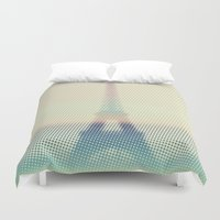 eiffel Duvet Covers featuring The Eiffel Tower by Metron