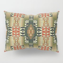 Orange Red Olive Green Native American Indian Mosaic Pattern Pillow Sham