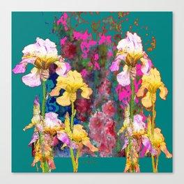 Decorative Yellow & Pink Spring Teal Iris Garden Canvas Print