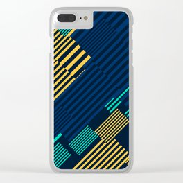 Green and Gold Linear Pattern Clear iPhone Case