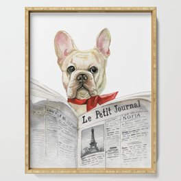French bulldog with newspaper, bonjour Serving Tray