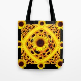 ABSTRACT BLACK GOLDEN YELLOW SUNFLOWER PATTERN Tote Bag