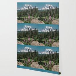 Mount Rainier Wildflower Adventure V - Pacific Northwest Mountain Forest Wanderlust Wallpaper