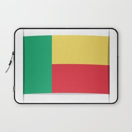Flag of Benin. The slit in the paper with shadows.  Laptop Sleeve