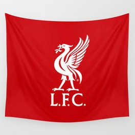 Liverpool FC White on Red 2017 Logo Wall Tapestry