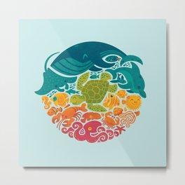 Aquatic Rainbow (light blue) Metal Print